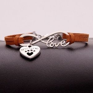 Jewelry - Brown Camel Leather Pet Paw Love Infinity Bracelet